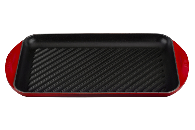 Le Creuset Cast Iron Extra Large Double Burner Grill- Cerise