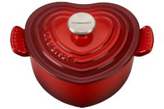 Le Creuset Enameled Cast Iron 1 Quart Heart Cocotte - Cerise