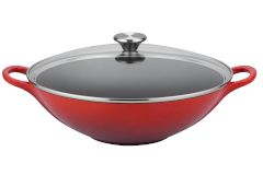 Le Creuset Signature Cast Iron 5 Quart Wok with Glass Lid - Cerise