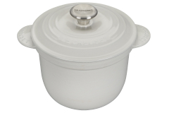 Le Creuset Cast Iron 2.25 Quart Rice Pot & Stoneware Insert - White