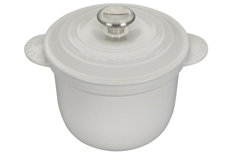 Le Creuset Cast Iron 2.25 Quart Rice Pot & Stoneware Insert - White