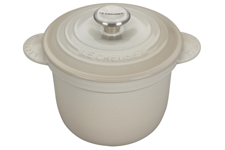 Le Creuset Cast Iron 2.25 Quart Rice Pot & Stoneware Insert - Meringue