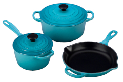 Le Creuset Signature Cast Iron 5-Piece Cookware Set - Caribbean