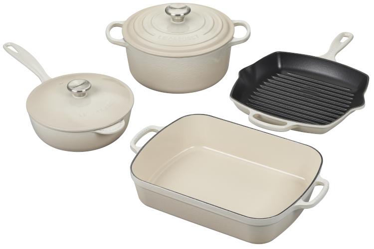 Le Creuset Signature Cast Iron 6-Piece Cookware Set - Meringue