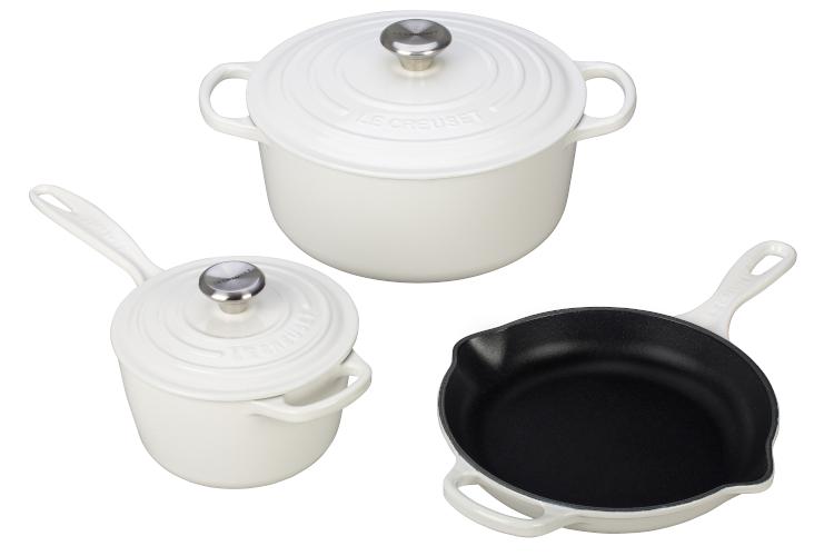 Le Creuset Signature Cast Iron 5-Piece Cookware Set - White