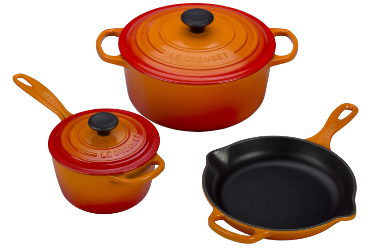 Le Creuset Signature Cast Iron 5-Piece Cookware Set - Flame