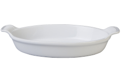 Le Creuset Stoneware Heritage 1 Quart Oval Au Gratin - White