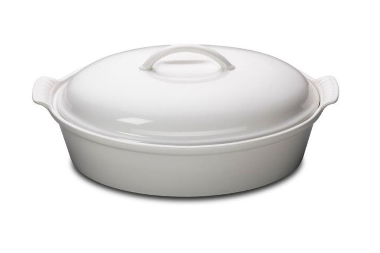Le Creuset Stoneware Heritage 4 Quart Covered Oval Casserole - White
