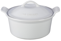 Le Creuset Stoneware Heritage 3 Quart Covered Round Casserole - White