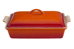 Le Creuset Stoneware Heritage 4 Quart Covered Rectangular Casserole - Flame