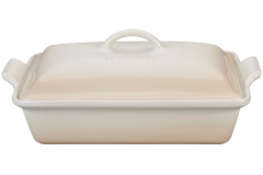 Le Creuset Stoneware Heritage 4 Quart Covered Rectangular Casserole - Meringue