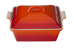 Le Creuset Stoneware Heritage 2.25 Quart Covered Square Casserole -Flame