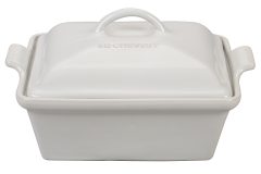 Le Creuset Stoneware Heritage 2.25 Quart Covered Square Casserole -White