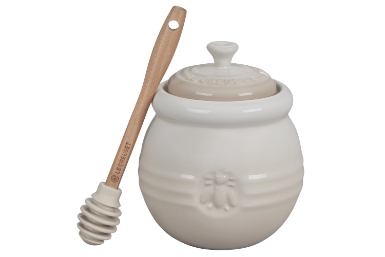 Le Creuset Stoneware Honey Pot with Silicone Honey Dipper - Meringue