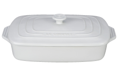 Le Creuset Stoneware 3.5 Quart Covered Rectangular Casserole - White