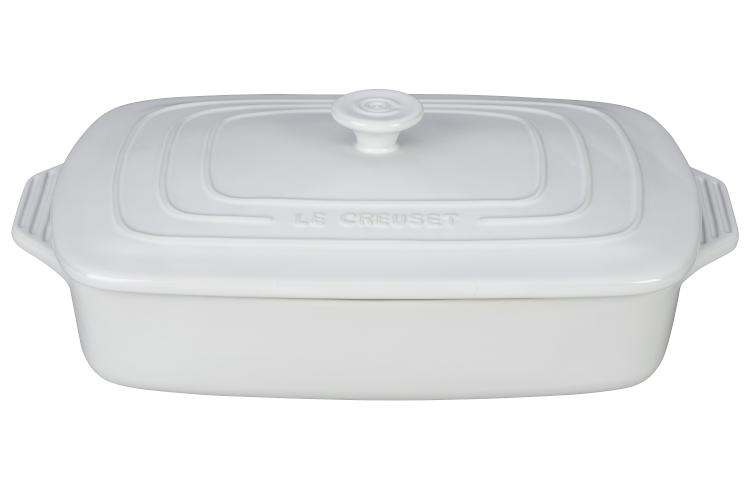 Le Creuset Stoneware 3.5 Quart Covered Rectangular Casserole - White