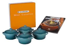 Le Creuset Stonware Mini-Cocotte Set with Cookbook - Caribbean