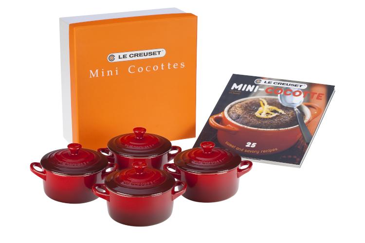 Le Creuset Stonware Mini-Cocotte Set with Cookbook - Cerise