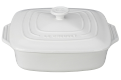 Le Creuset Stoneware 2.75 Quart Covered Square Casserole - White