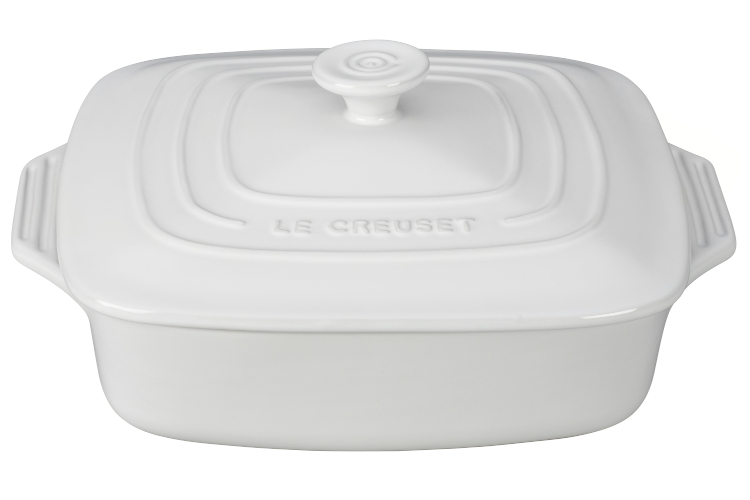 Le Creuset Stoneware 2.75 Quart Covered Square Casserole - White