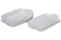 Le Creuset Stoneware Rectangular Dish with Platter Lid - White