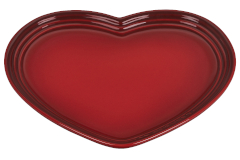Le Creuset Stoneware Large Heart Plate - Cerise