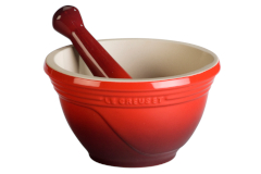 Le Creuset Stoneware 10 Ounce Mortar and Pestle - Cerise
