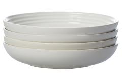"Le Creuset Stoneware Set of (4) 9.75"" Pasta Bowls - White"