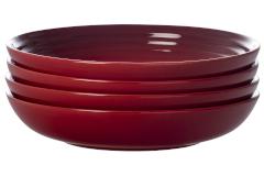 """Le Creuset Stoneware Set of (4) 9.75"""" Pasta Bowls - Cerise"""