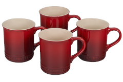 Le Creuset Stoneware Set of 4 Mugs - Cerise