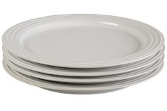"Le Creuset Stoneware Set of (4) 10.5"" Dinner Plates - White"