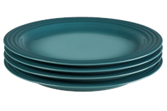 "Le Creuset Stoneware Set of (4) 10.5"" Dinner Plates - Caribbean"