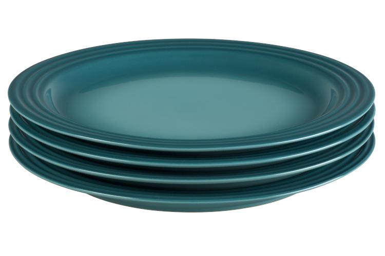 "Le Creuset Stoneware Set of (4) 10.5"" Dinner Plates - Caribbean"