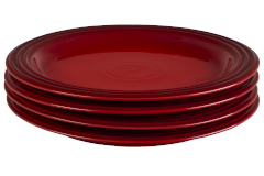 "Le Creuset Stoneware Set of (4) 10.5"" Dinner Plates - Cerise"