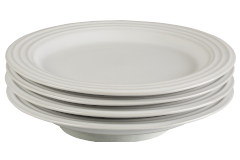 "Le Creuset Stoneware Set of (4) 8.5"" Salad Plates - White"