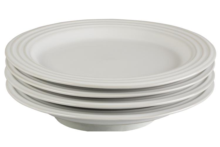 "Le Creuset Stoneware Set of (4) 8.5"" Salad Plates - White"