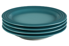 "Le Creuset Stoneware Set of (4) 8.5"" Salad Plates - Caribbean"