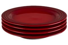 "Le Creuset Stoneware Set of (4) 8.5"" Salad Plates - Cerise"