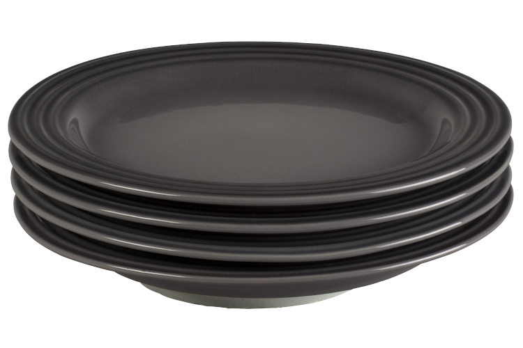 """Le Creuset Stoneware Set of (4) 8.5"""" Salad Plates - Oyster"""