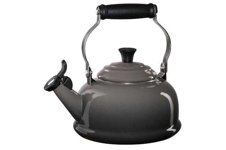 Le Creuset Enamel on Steel 1.7 Quart Whistling Tea Kettle -Oyster
