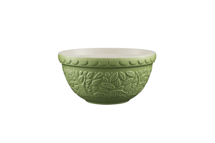 Mason Cash In the Forest 1.15 Quart Hedgehog Embossed Mixing Bowl Green