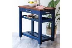 Martin's Home Wares Solid Navy Blue Metro Kitchen Island
