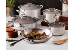 Mauviel M'cook Stainless Steel 9-Piece Cookware Set