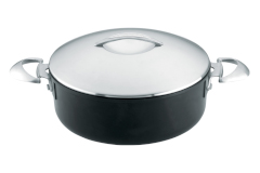 Scanpan Professional Nonstick 4.5 Quart Low Sauce Pot with Steel Lid