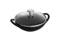 Staub Cast Iron 0.5 Quart Baby Wok with Glass Lid Matte Black