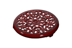 "Staub Cast Iron 9"" Round Lilly Trivet - Grenadine"