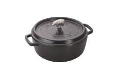 Staub Cast Iron 6 Quart Cochon Shallow Wide Round Cocottes