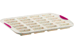 Trudeau Structured Silicone 24 Bar Cake Pan White Confetti