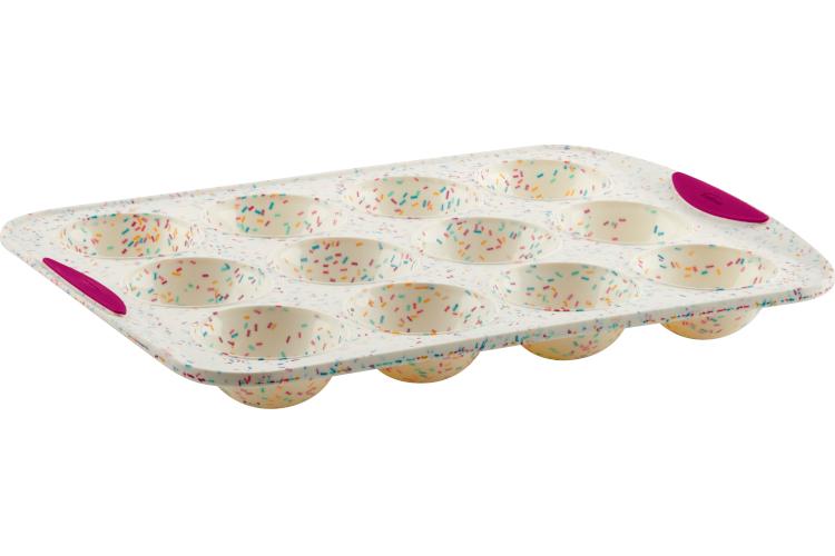 Trudeau Structured Silicone™ 12-Count Dome Muffin Pan - White Confetti