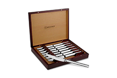 Wusthof Stainless Steel 8-Piece Steak Knife Set in Rosewood Colored Chest